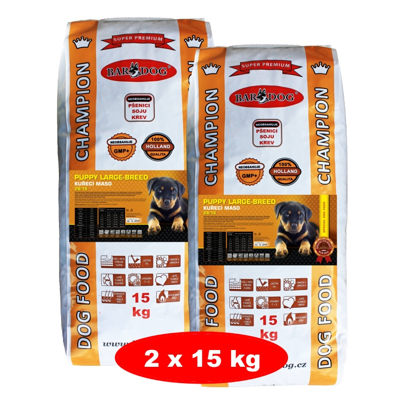 BARDOG PUPPY Large & Breed 2 x 15 kg