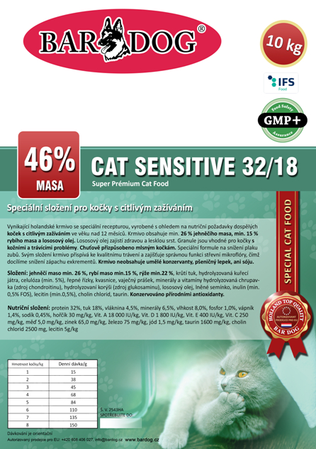 Bardog SENSITIVE Cat 32/18 Super premium 10 kg