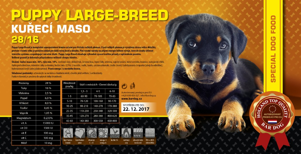 BARDOG PUPPY Large & Breed 28/16 kuřecí maso 4 kg